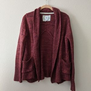 Maroon Burgundy Thick Knit Open Cardigan